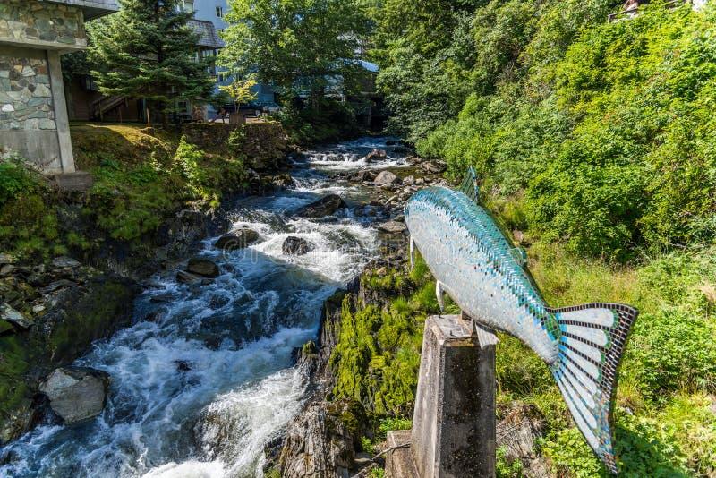 Flussbetrieb durch Nebenflussstraße Ketchikan, Alaska lizenzfreie stockfotos