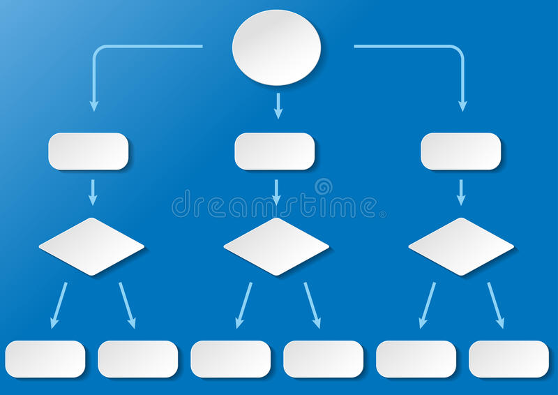 Flussdiagramm Breit Blue Background. Flowchart with with paper labels on the blue background. Eps 10 file royalty free illustration