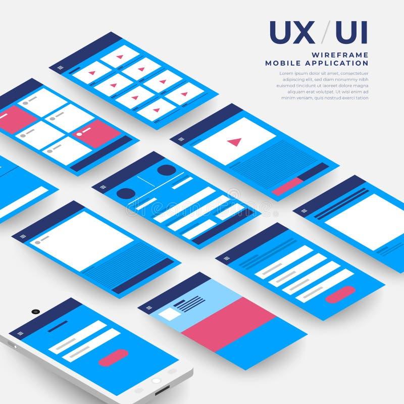 Flussdiagramm UXs UI Bewegliches Anwendungskonzept der Modelle isometrisch stock abbildung