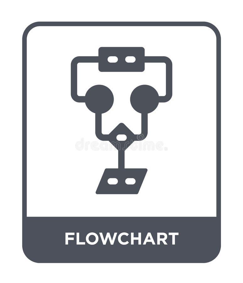 Flussdiagrammikone in der modischen Entwurfsart Flussdiagrammikone lokalisiert auf weißem Hintergrund einfache und moderne Ebene  lizenzfreie abbildung