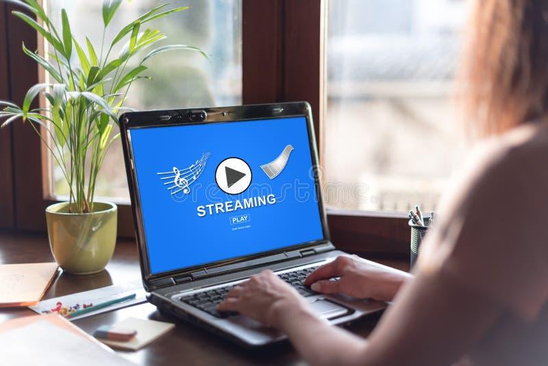 Flusso continuo del concetto su uno schermo del computer portatile immagine stock libera da diritti