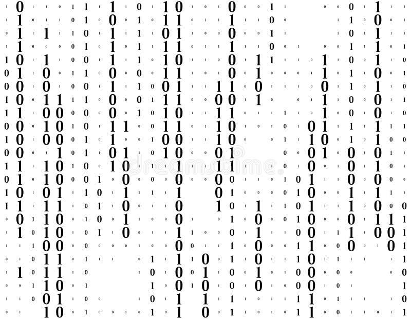 Flusso continuo del fondo di vettore di codice binario Concetto del pirata informatico o di codifica Dati e tecnologia, decrittaz illustrazione vettoriale