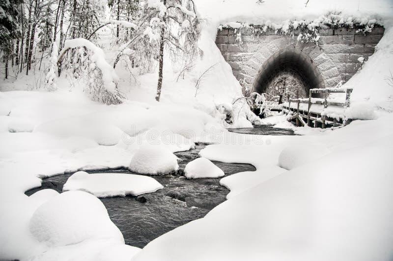 Flusso continuo dell'acqua che porta ad un ponte fotografie stock libere da diritti