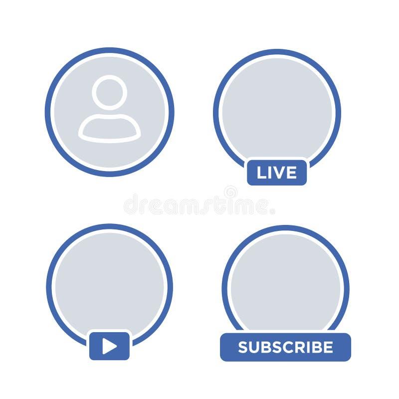 Flusso continuo sociale del video IN TENSIONE dell'avatar dell'icona di media illustrazione vettoriale