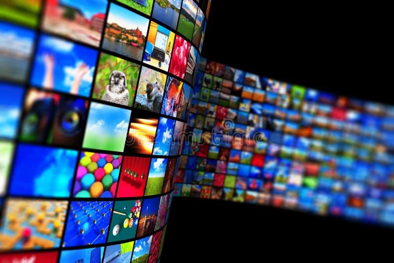 Flusso continuo tecnologia di mezzi d'informazione e del concetto di multimedia illustrazione vettoriale