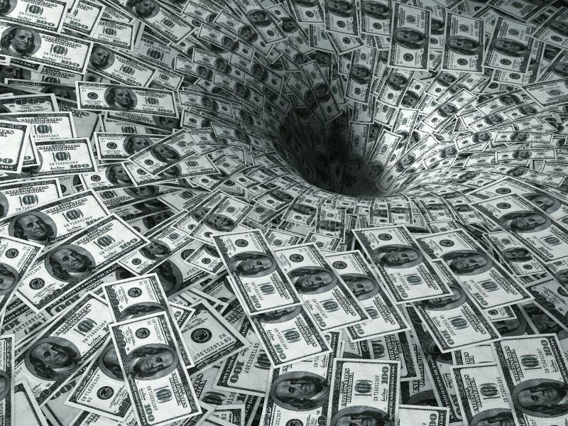 Flusso del dollaro in buco nero immagine stock libera da diritti
