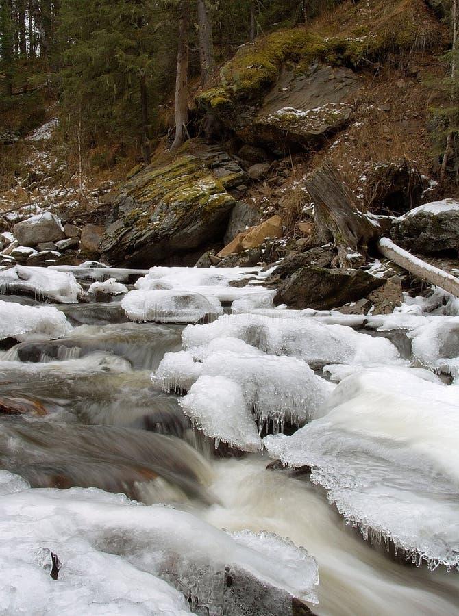 Flusso della montagna di inverno immagine stock libera da diritti