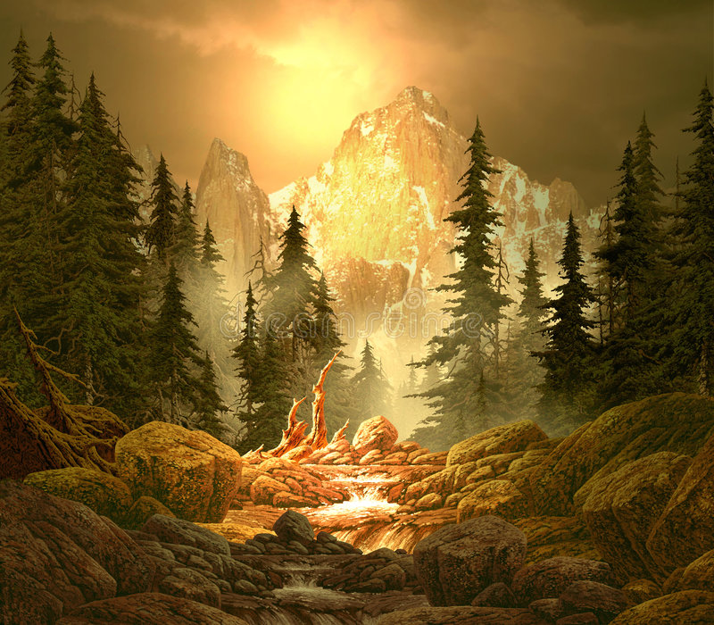Flusso della montagna nelle Montagne Rocciose illustrazione vettoriale