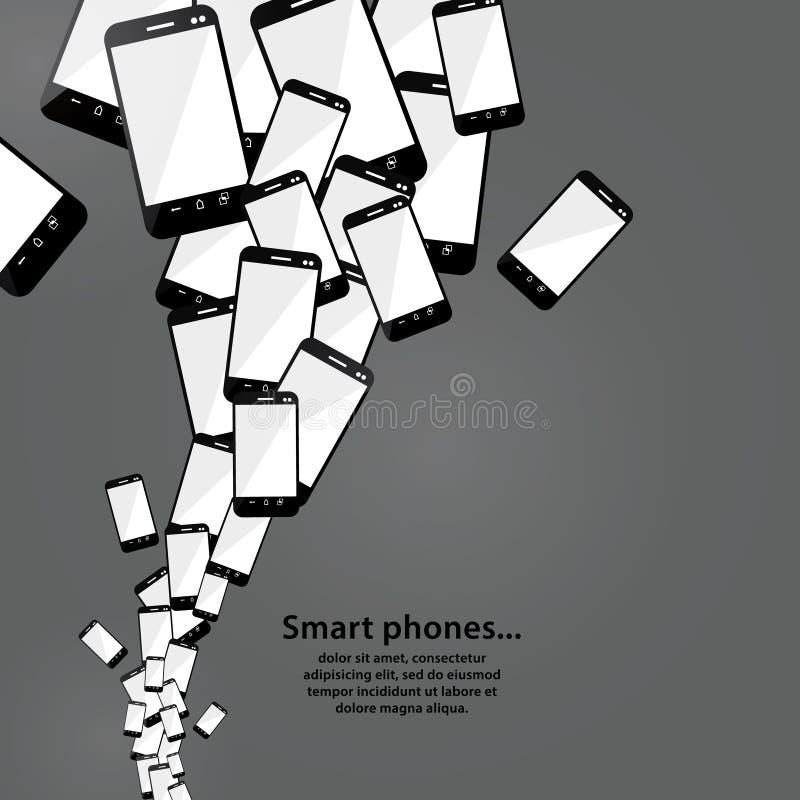 Flusso dello Smart Phone di vettore. Tecnologia moderna. Mucchio del telefono cellulare illustrazione vettoriale