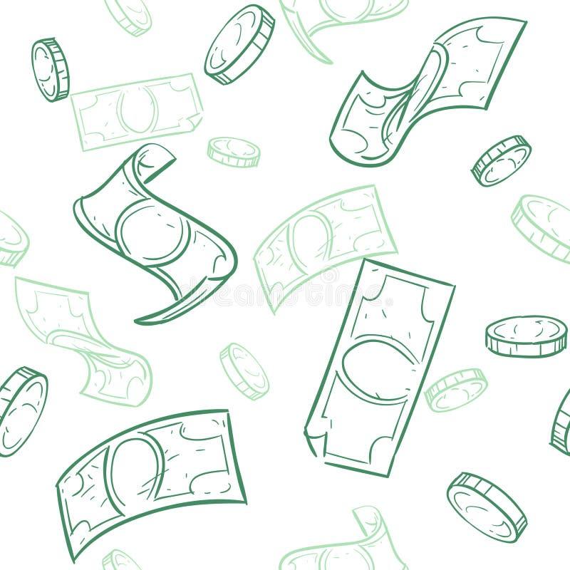 Flusso di cassa di scarabocchio Pioggia del modello senza cuciture di vettore dei soldi Fondo di caduta dei dollari di schizzo royalty illustrazione gratis
