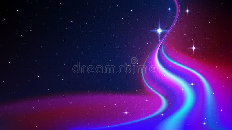 Flusso di energia astratta nello spazio cosmico, aurora boreale, su fondo del cielo stellato illustrazione di stock