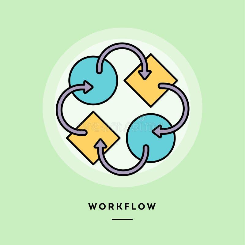 Flusso di lavoro, linea sottile insegna di progettazione piana illustrazione di stock