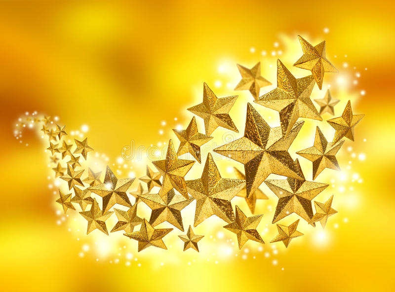 Flusso dorato di celebrazione delle stelle fotografia stock libera da diritti