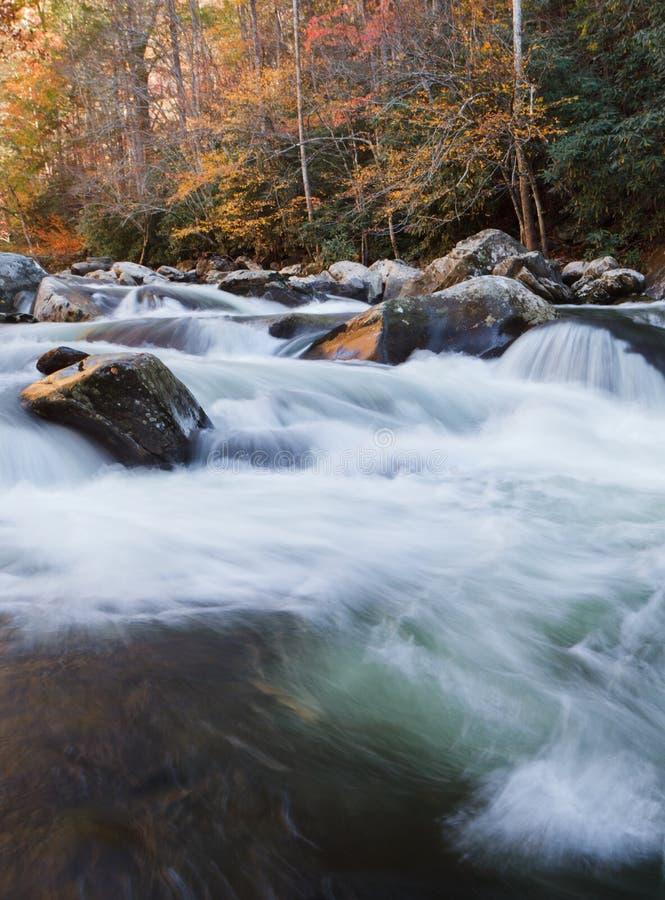 Flusso nelle montagne, colori di caduta fotografia stock libera da diritti