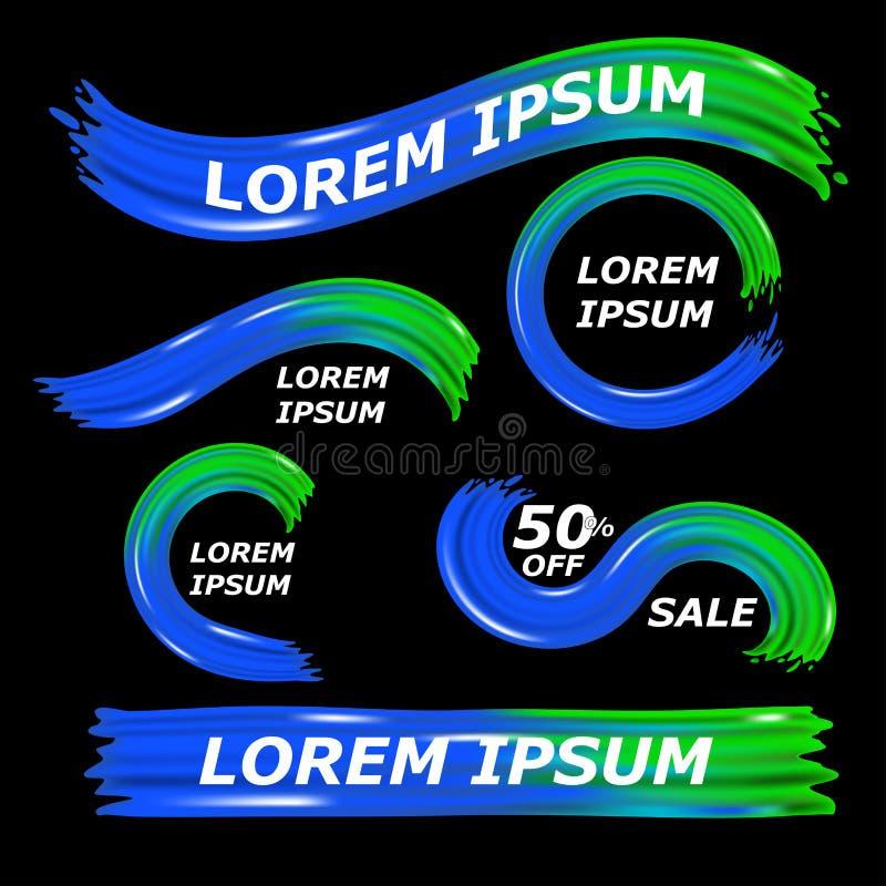 Flusso variopinto moderno su fondo nero Verde liquido di forma di Wave e colore blu scuro Progettazione dinamica stabilita degli  royalty illustrazione gratis