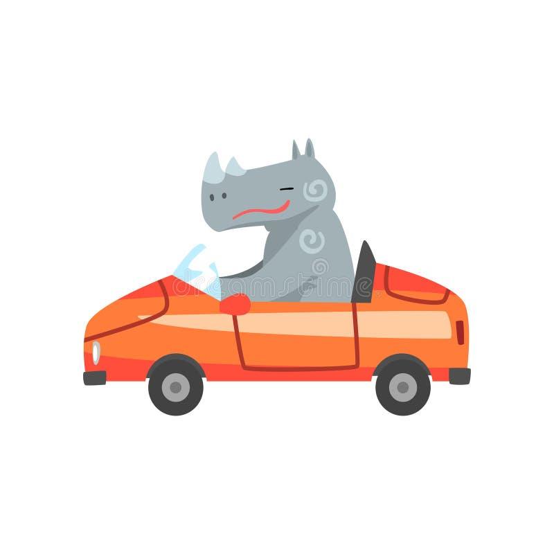 Flusspferd, das rotes Auto, Tiercharakter unter Verwendung der Fahrzeug-Vektor-Illustration fährt stock abbildung