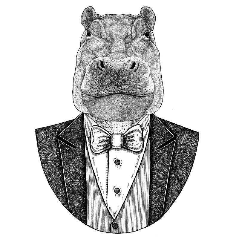 Flusspferd, Nilpferd, Ungetüm, gezeichnetes Bild des Flusspferdhippies Tierhand für Tätowierung, Emblem, Ausweis, Logo, Flecken,  lizenzfreie abbildung