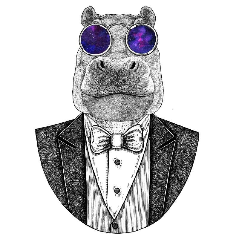 Flusspferd, Nilpferd, Ungetüm, gezeichnetes Bild des Flusspferdhippies Tierhand für Tätowierung, Emblem, Ausweis, Logo, Flecken,  vektor abbildung
