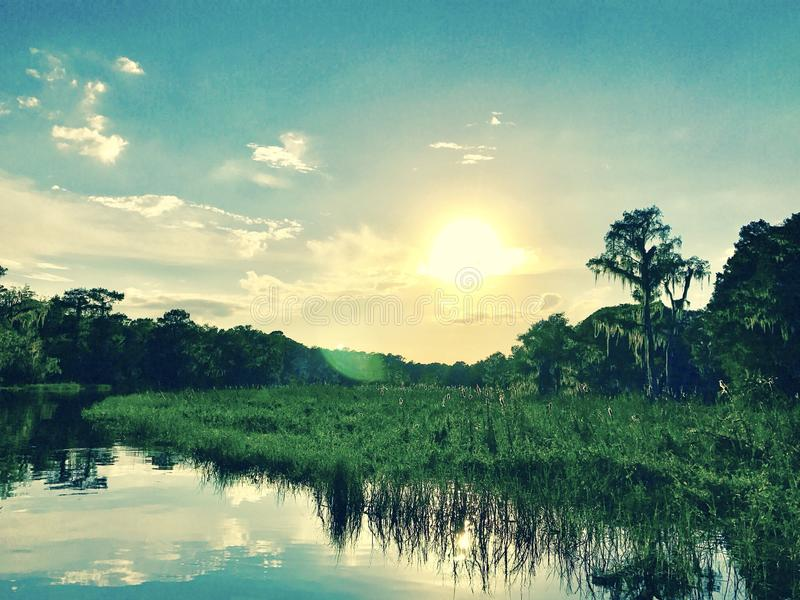 Flusssonne lizenzfreie stockfotografie