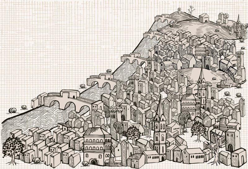 Flussstadt - Zeichnung vektor abbildung