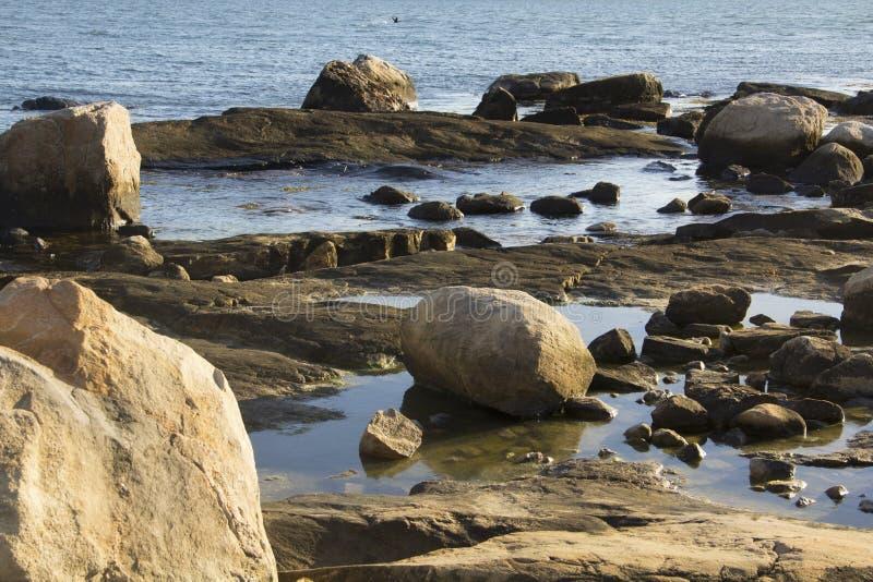 Flusssteine auf dem Strand mit Gezeitenpools in Connecticut lizenzfreies stockbild
