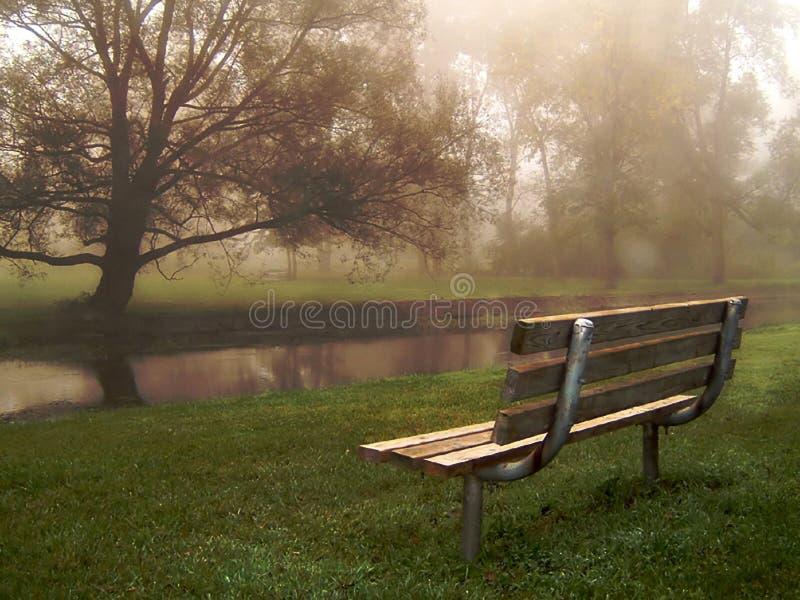 Flussufer-Bank im Nebel stockfotografie