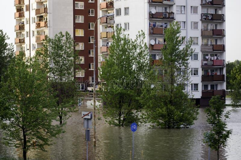 Flut in der Stadt stockfotografie
