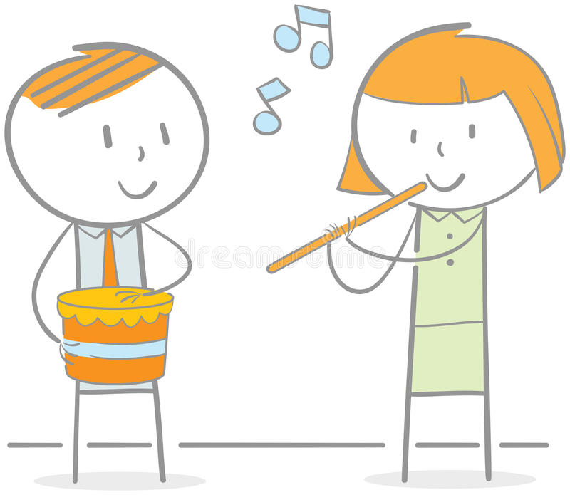 Playing Flute And Drum royalty free illustration
