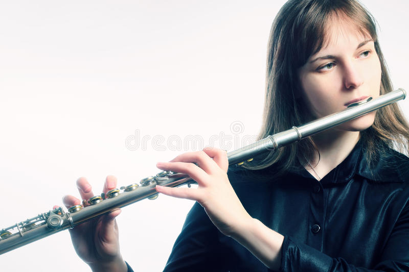 Flute instrument orchestra player stock photography