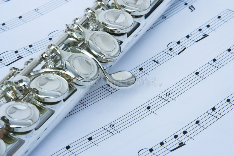 Download Flute keys on music notes stock image. Image of performance - 2272053