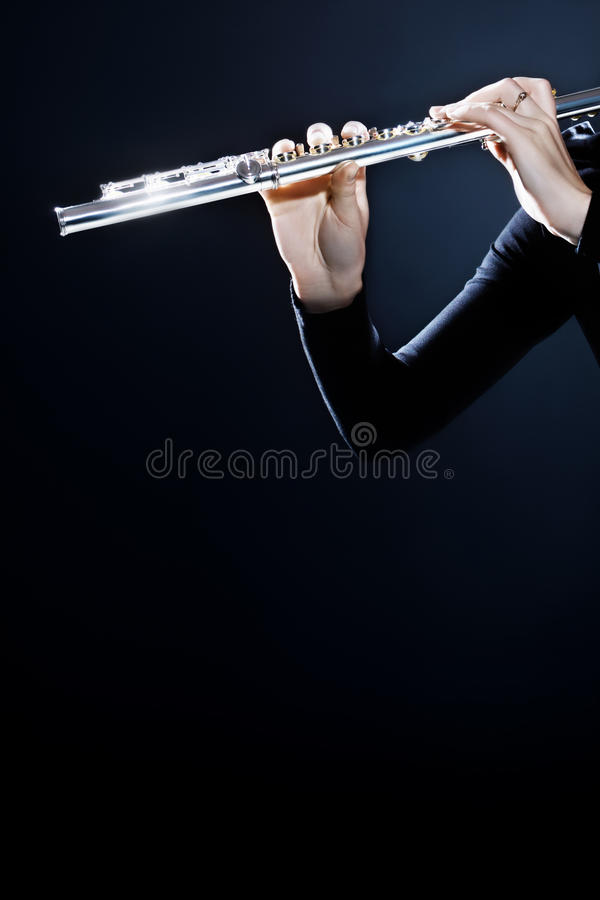 Flute music instrument hands stock photo
