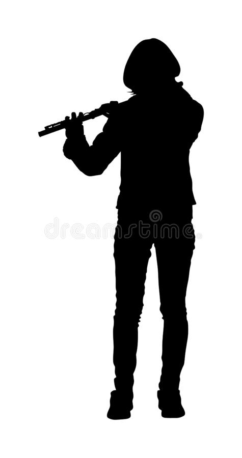Flute music playing flutist musician performer with musical instrument, vector silhouette. Flute music playing flutist musician performer with musical vector illustration