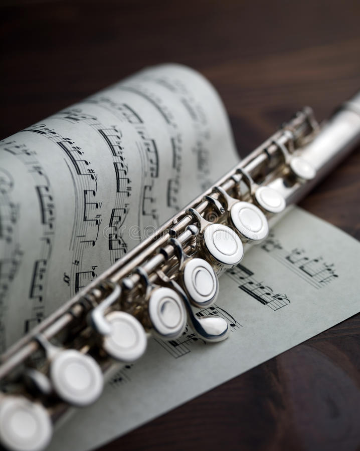 Download Flute On Musical Score Stock Image - Image: 19093891