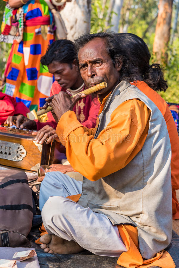 Flute performance at Shantiniketan stock photos