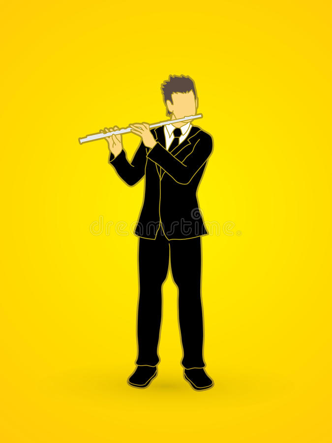 Flute player. Design graphic vector stock illustration