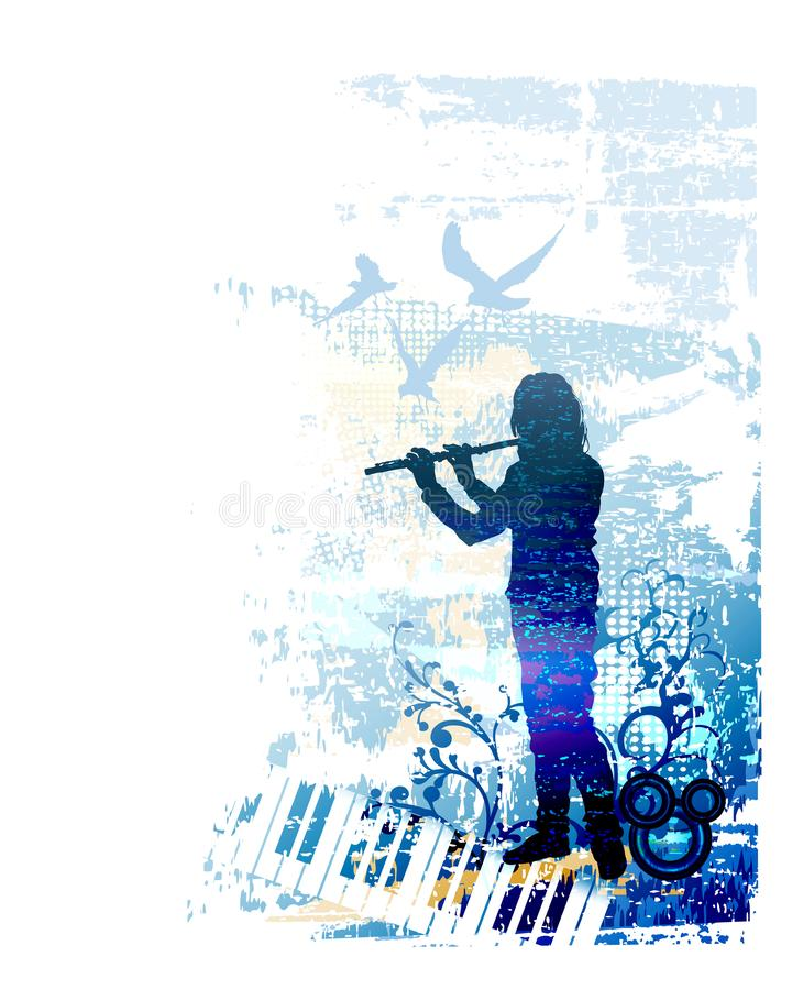 Flute player playing folk music. Musician, performer, flutist performing classical country concert. Musical performance festival. Vector illustration on grunge royalty free illustration