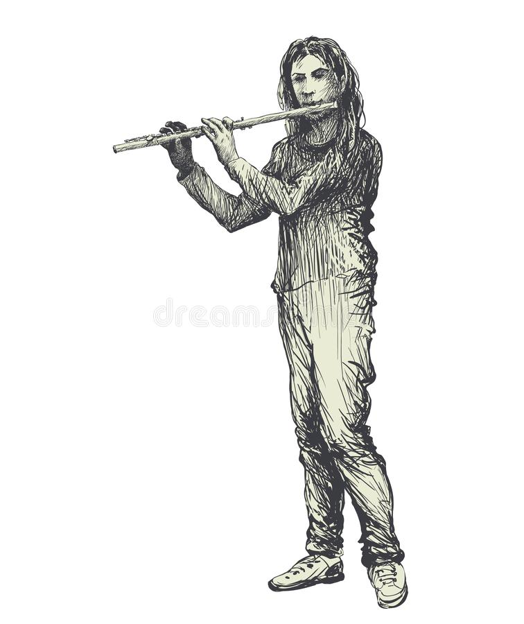 Flute player playing folk music. Musician, performer, flutist performing classical country concert. Musical performance festival. Vector illustration on grunge vector illustration