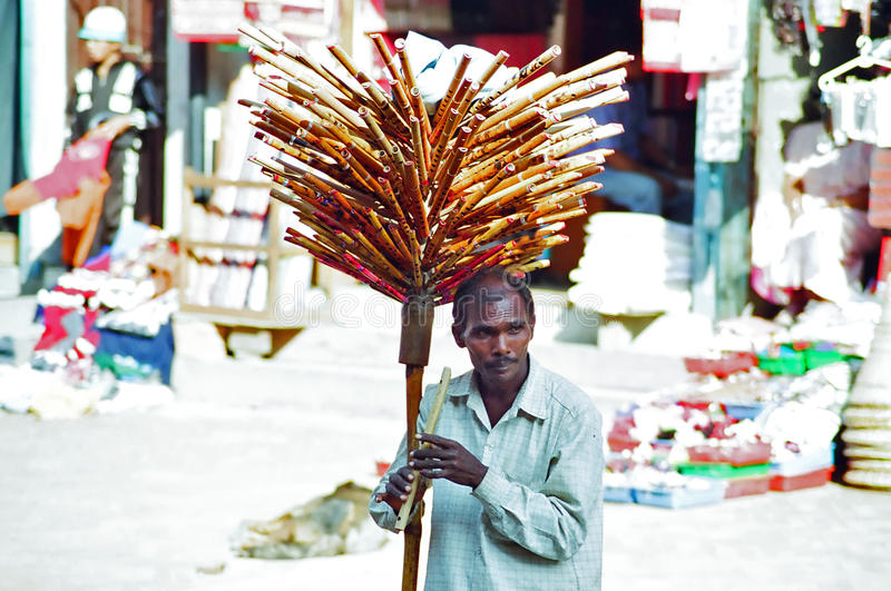 Flute Seller, Kathmandu Nepal. A Man selling flutes in a market in Kathmandu, Nepal stock photography
