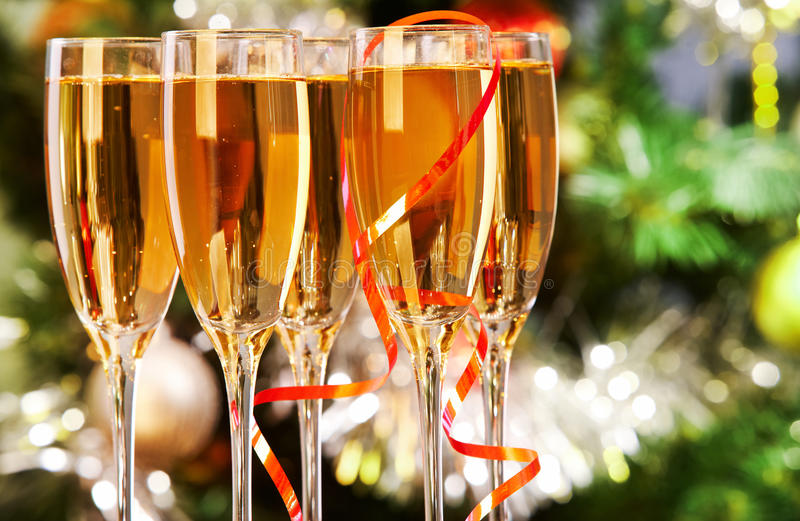 Flutes with champagne stock photography