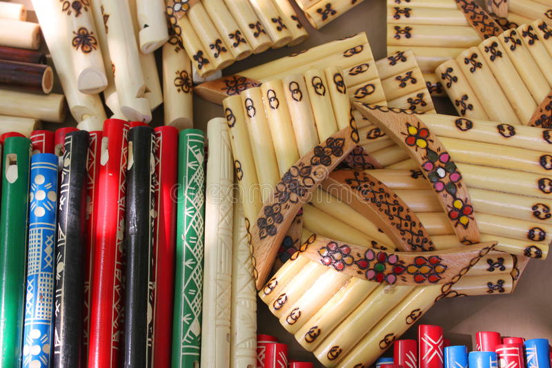 Flutes and pan flutes-. Wooden flutes and pan flutes- for sale stock images