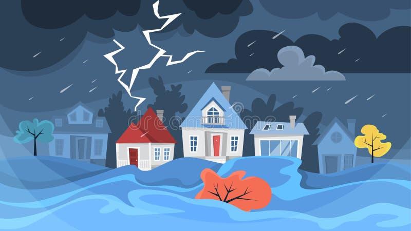 Flutkatastrophekonzept Sturm in der Stadt, Naturkatastrophe lizenzfreie abbildung