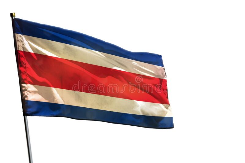 Fluttering Costa Rica flag on clear white background isolated. Fluttering Costa Rica flag isolated on white background stock images