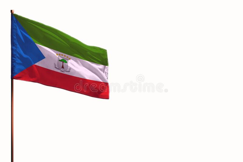 Fluttering Equatorial Guinea isolated flag on white background, mockup with the space for your content. Fluttering Equatorial Guinea flag isolated, mockup with royalty free stock photo