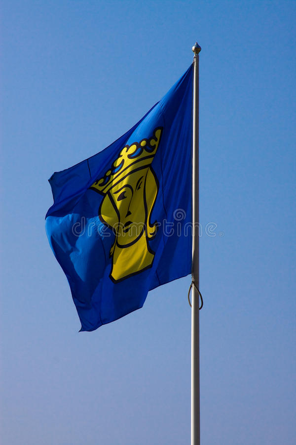 Fluttering Flag With The Coat Of Arms Of Stockholm Royalty Free Stock Images