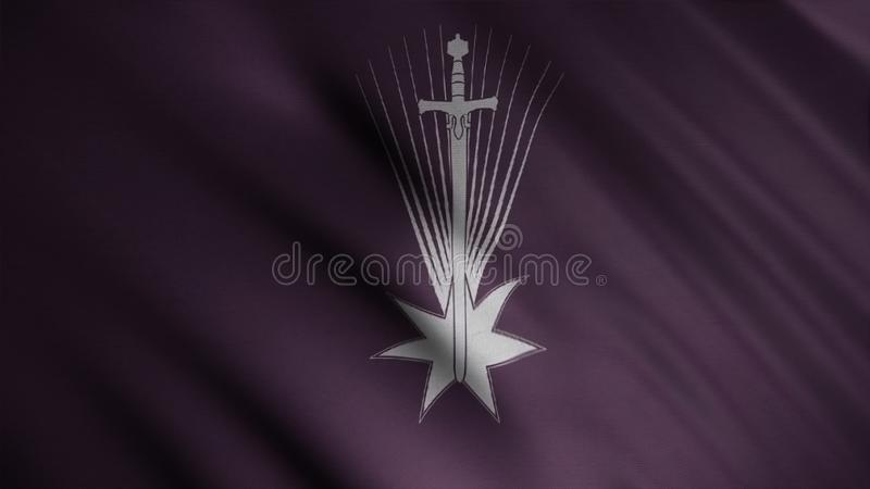 Fluttering flag with white falling star and a sword on dark purple background, seamless loop. Dayne house emblem, game stock photos