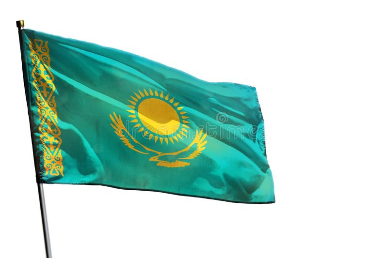 Fluttering Kazakhstan flag on clear white background isolated. royalty free stock photography