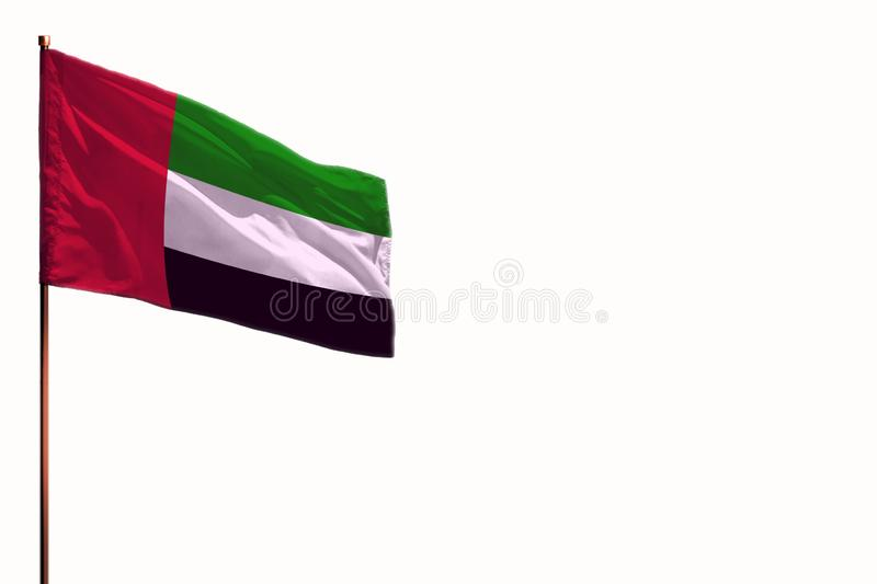 Fluttering United Arab Emirates isolated flag on white background, mockup with the space for your content stock photos