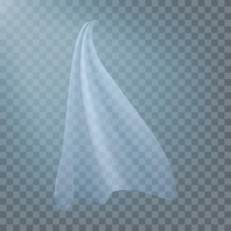 Fluttering White Cloth Vector. Viel Silk. Fabric Curtain. Clear Drape. Realistic Clear Material Illustration. Fluttering White Cloth Vector. Fluttering Curved stock illustration
