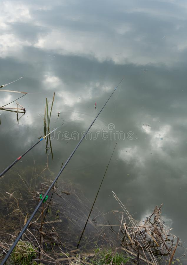 Flutuador da vara de pesca na água foto de stock royalty free