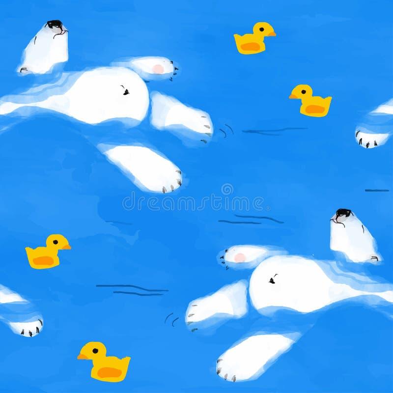 Flutuadores do urso polar na água com um pato de borracha ilustração royalty free